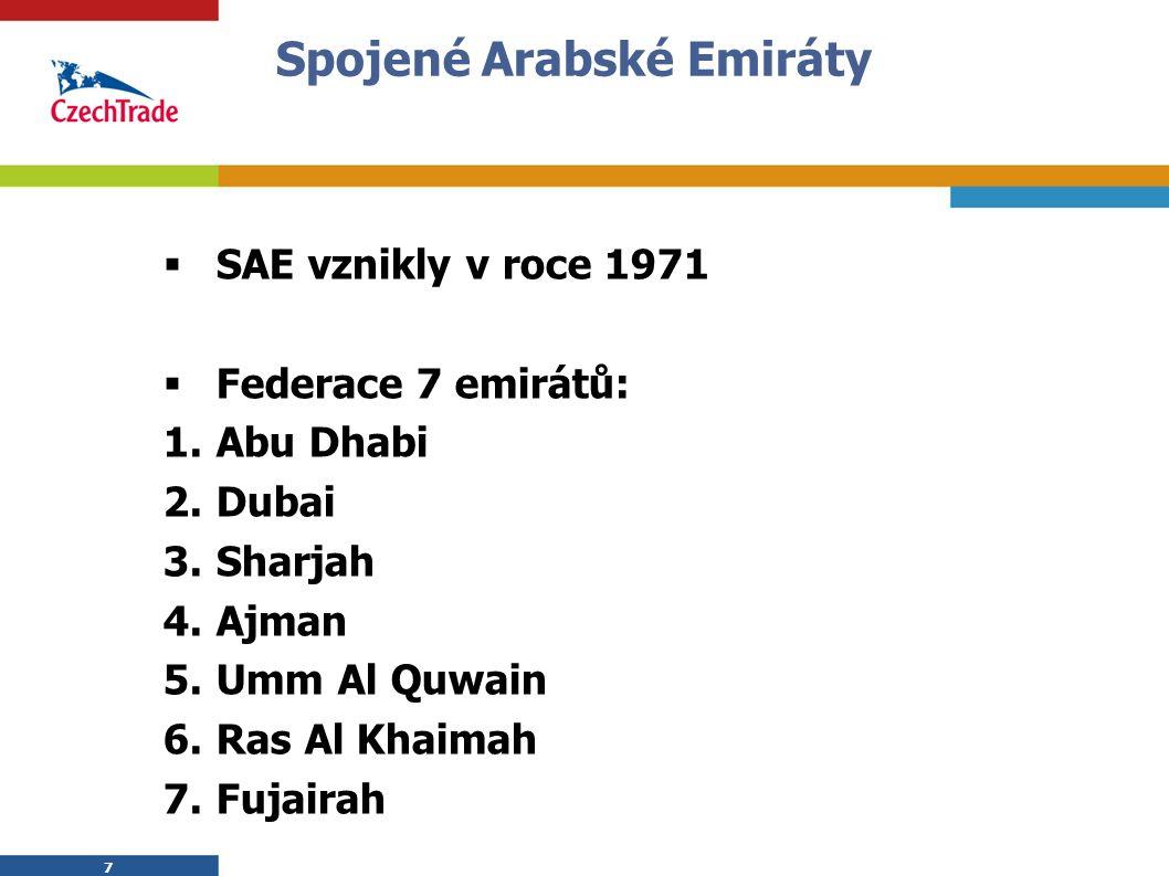 7 7 Spojené Arabské Emiráty  SAE vznikly v roce 1971  Federace 7 emirátů: 1.Abu Dhabi 2.Dubai 3.Sharjah 4.Ajman 5.Umm Al Quwain 6.Ras Al Khaimah 7.Fujairah