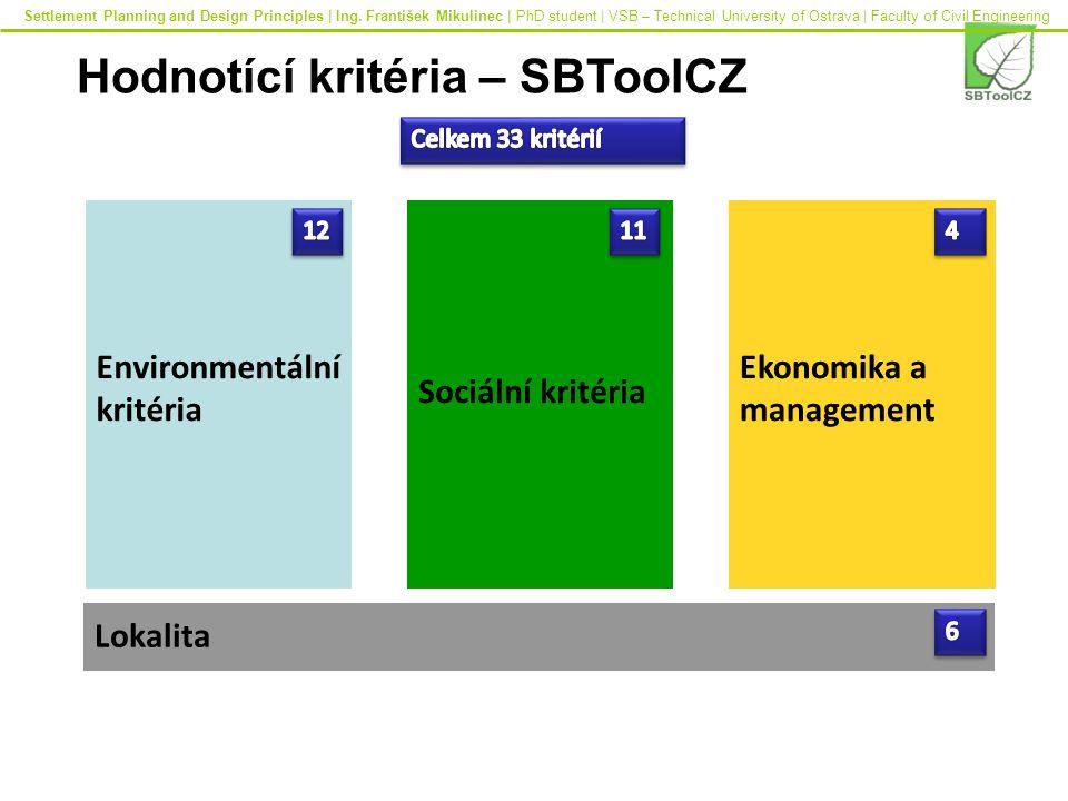 Environmentální kritéria Sociální kritéria Ekonomika a management Lokalita Hodnotící kritéria – SBToolCZ Settlement Planning and Design Principles | Ing.