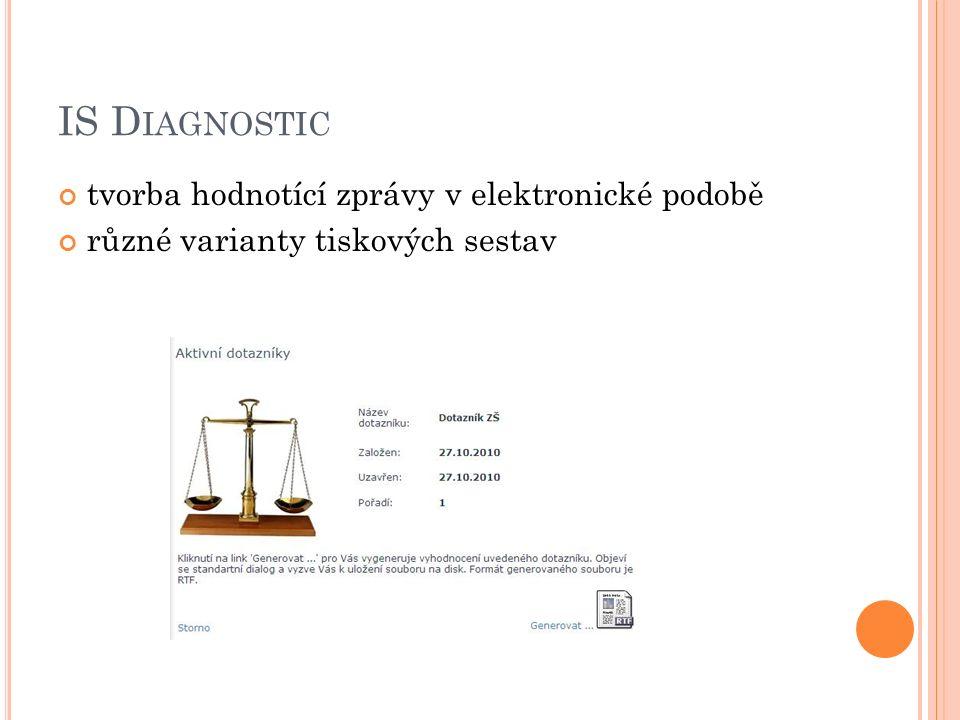 IS D IAGNOSTIC tvorba hodnotící zprávy v elektronické podobě různé varianty tiskových sestav
