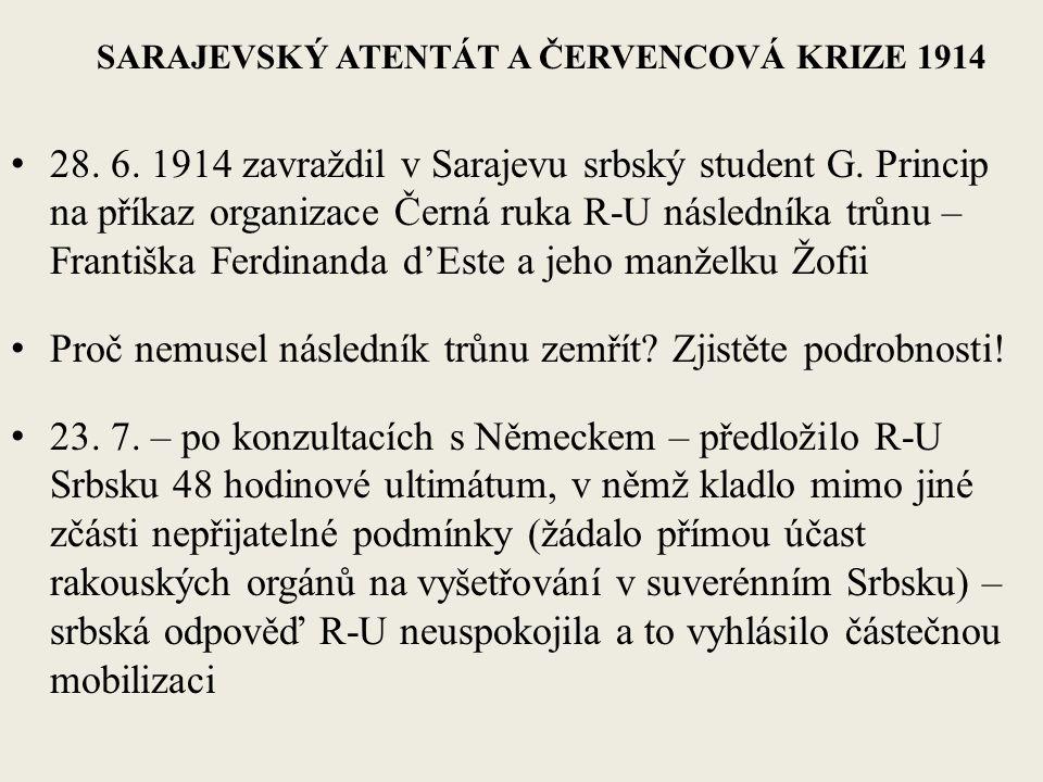 SARAJEVSKÝ ATENTÁT A ČERVENCOVÁ KRIZE 1914 28. 6.