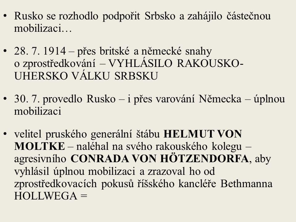Rusko se rozhodlo podpořit Srbsko a zahájilo částečnou mobilizaci… 28.