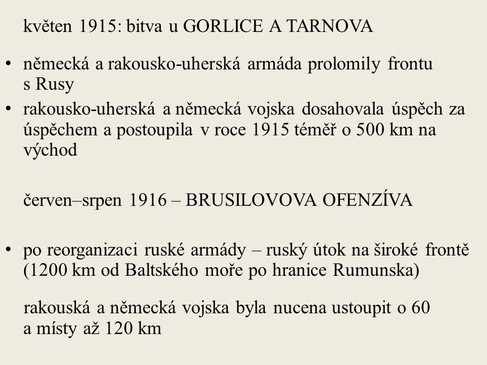 květen 1915: bitva u GORLICE A TARNOVA německá a rakousko-uherská armáda prolomily frontu s Rusy rakousko-uherská a německá vojska dosahovala úspěch za úspěchem a postoupila v roce 1915 téměř o 500 km na východ červen–srpen 1916 – BRUSILOVOVA OFENZÍVA po reorganizaci ruské armády – ruský útok na široké frontě (1200 km od Baltského moře po hranice Rumunska) rakouská a německá vojska byla nucena ustoupit o 60 a místy až 120 km