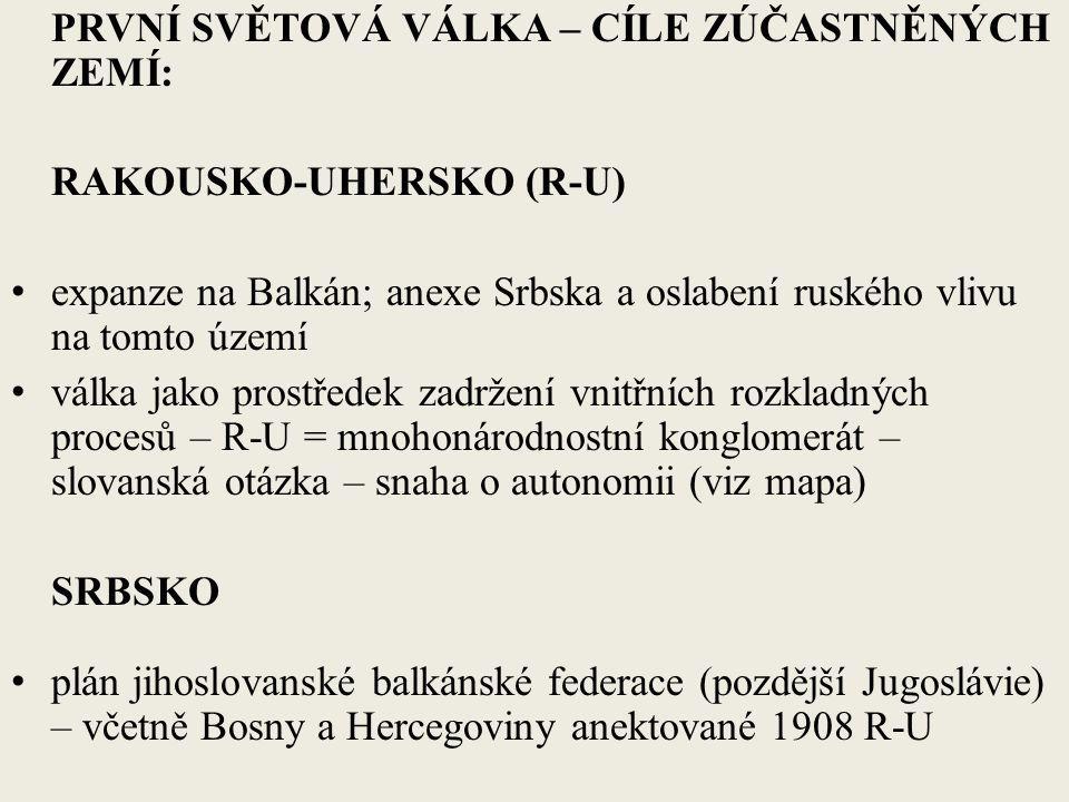 PRVNÍ SVĚTOVÁ VÁLKA – CÍLE ZÚČASTNĚNÝCH ZEMÍ: RAKOUSKO-UHERSKO (R-U) expanze na Balkán; anexe Srbska a oslabení ruského vlivu na tomto území válka jako prostředek zadržení vnitřních rozkladných procesů – R-U = mnohonárodnostní konglomerát – slovanská otázka – snaha o autonomii (viz mapa) SRBSKO plán jihoslovanské balkánské federace (pozdější Jugoslávie) – včetně Bosny a Hercegoviny anektované 1908 R-U