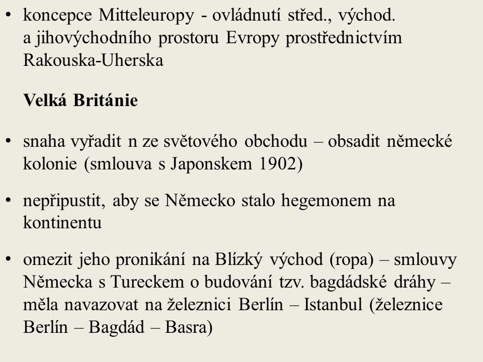 koncepce Mitteleuropy - ovládnutí střed., východ.