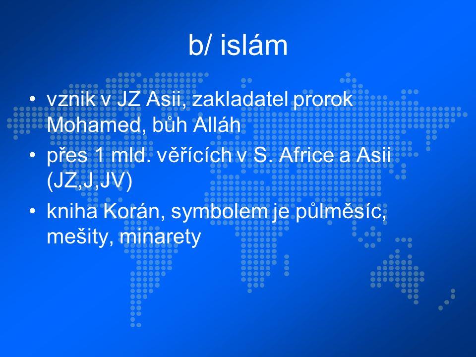 b/ islám vznik v JZ Asii, zakladatel prorok Mohamed, bůh Alláh přes 1 mld.