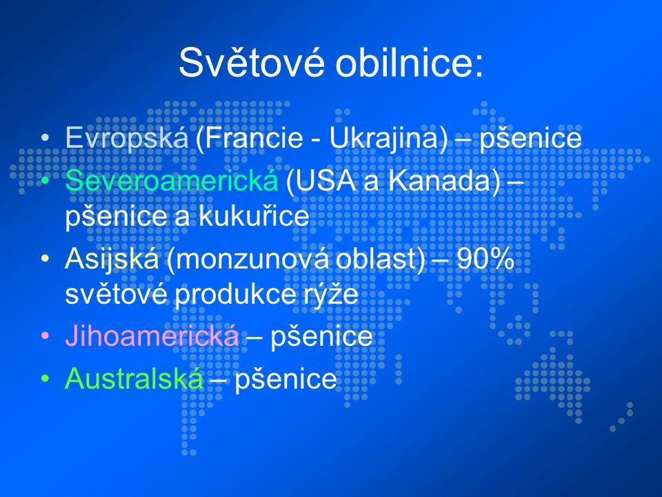 Světové obilnice: Evropská (Francie - Ukrajina) – pšenice Severoamerická (USA a Kanada) – pšenice a kukuřice Asijská (monzunová oblast) – 90% světové produkce rýže Jihoamerická – pšenice Australská – pšenice