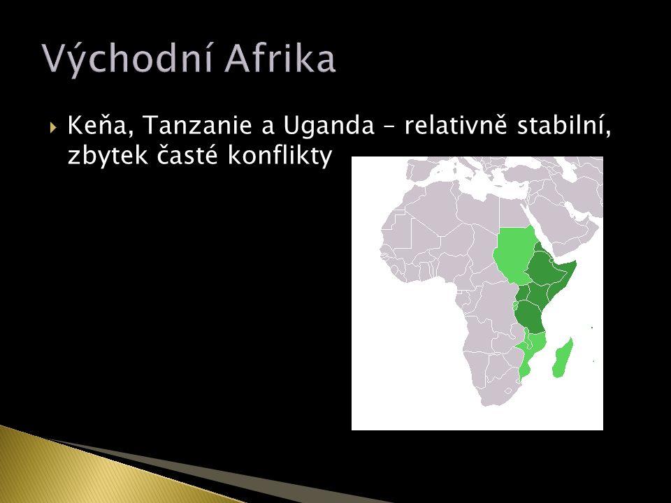  Keňa, Tanzanie a Uganda – relativně stabilní, zbytek časté konflikty