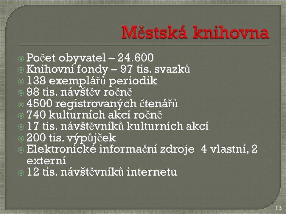  Po č et obyvatel – 24.600  Knihovní fondy – 97 tis.