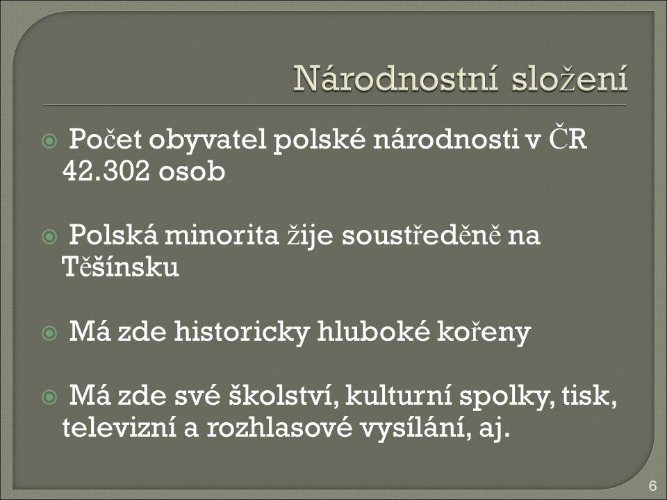  Po č et obyvatel polské národnosti v Č R 42.302 osob  Polská minorita ž ije soust ř ed ě n ě na T ě šínsku  Má zde historicky hluboké ko ř eny  M