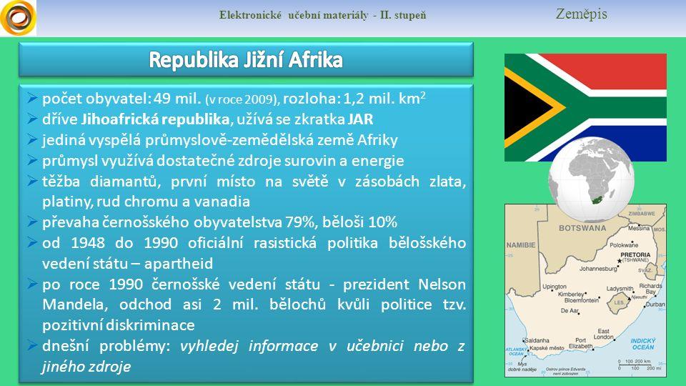 Elektronické učební materiály - II. stupeň Zeměpis  počet obyvatel: 49 mil. (v roce 2009), rozloha: 1,2 mil. km 2  dříve Jihoafrická republika, užív