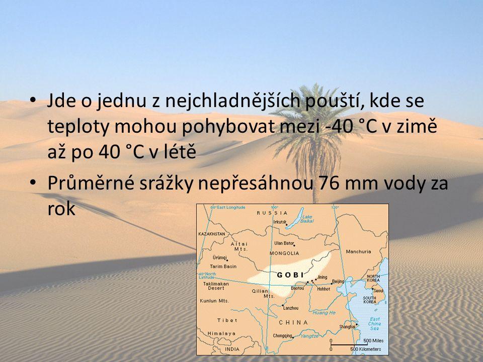 Jde o jednu z nejchladnějších pouští, kde se teploty mohou pohybovat mezi -40 °C v zimě až po 40 °C v létě Průměrné srážky nepřesáhnou 76 mm vody za r