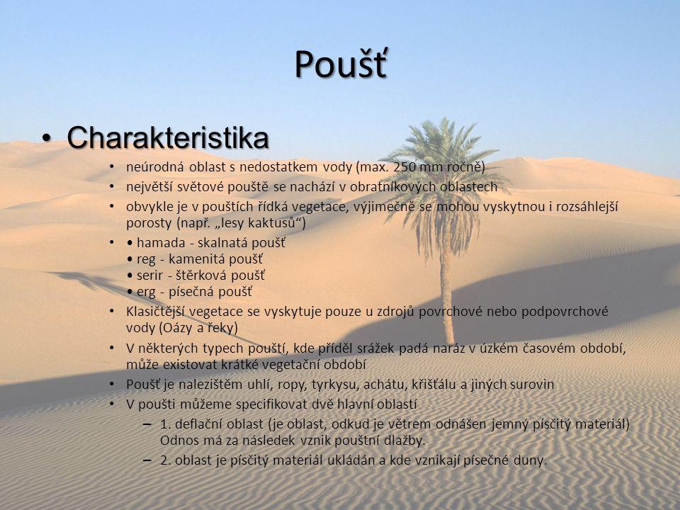 Poušť CharakteristikaCharakteristika neúrodná oblast s nedostatkem vody (max. 250 mm ročně) největší světové pouště se nachází v obratníkových oblaste