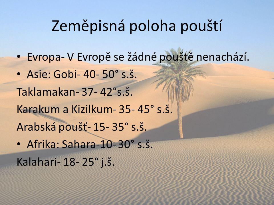 Zeměpisná poloha pouští Evropa- V Evropě se žádné pouště nenachází. Asie: Gobi- 40- 50° s.š. Taklamakan- 37- 42°s.š. Karakum a Kizilkum- 35- 45° s.š.