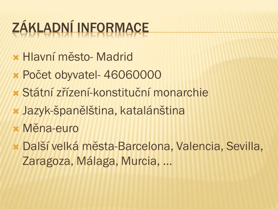  Hlavní město- Madrid  Počet obyvatel- 46060000  Státní zřízení-konstituční monarchie  Jazyk-španělština, katalánština  Měna-euro  Další velká města-Barcelona, Valencia, Sevilla, Zaragoza, Málaga, Murcia, …