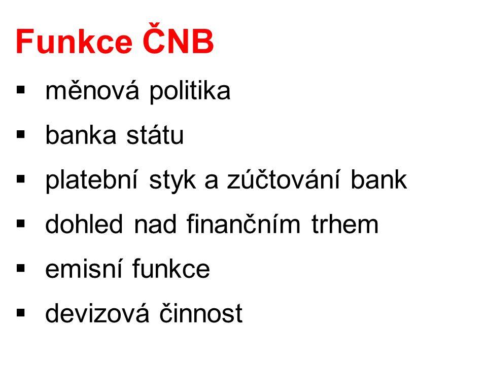 Funkce ČNB  měnová politika  banka státu  platební styk a zúčtování bank  dohled nad finančním trhem  emisní funkce  devizová činnost