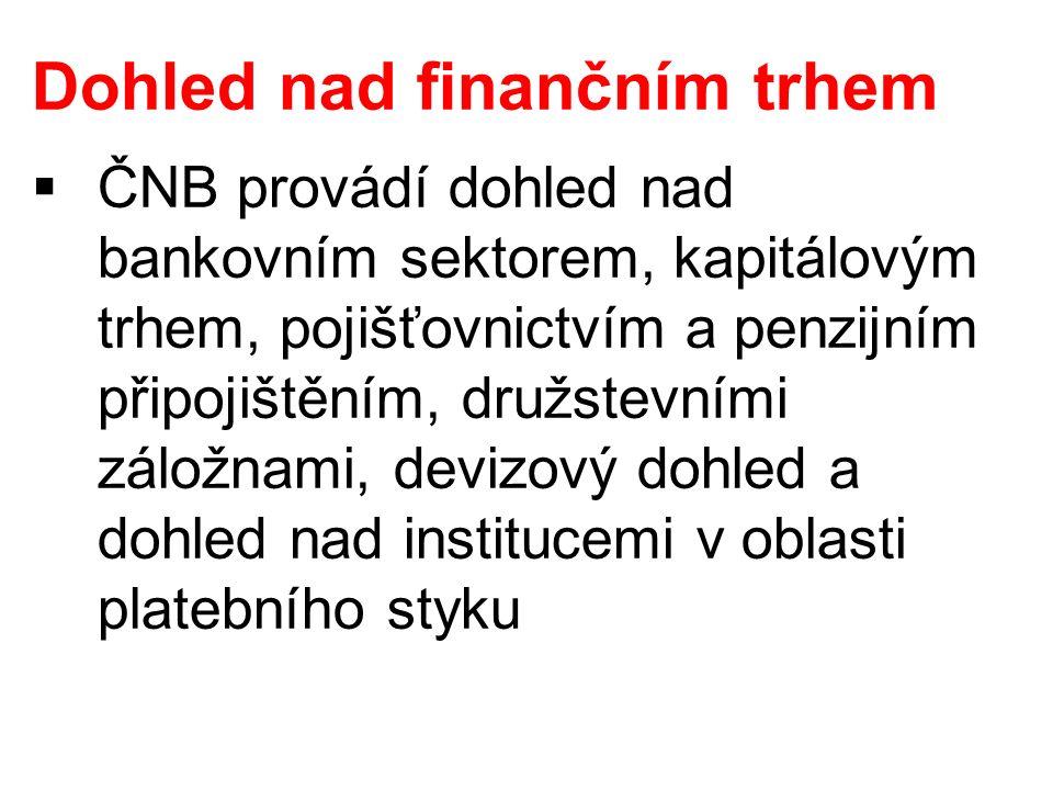 Dohled nad finančním trhem  ČNB provádí dohled nad bankovním sektorem, kapitálovým trhem, pojišťovnictvím a penzijním připojištěním, družstevními zál