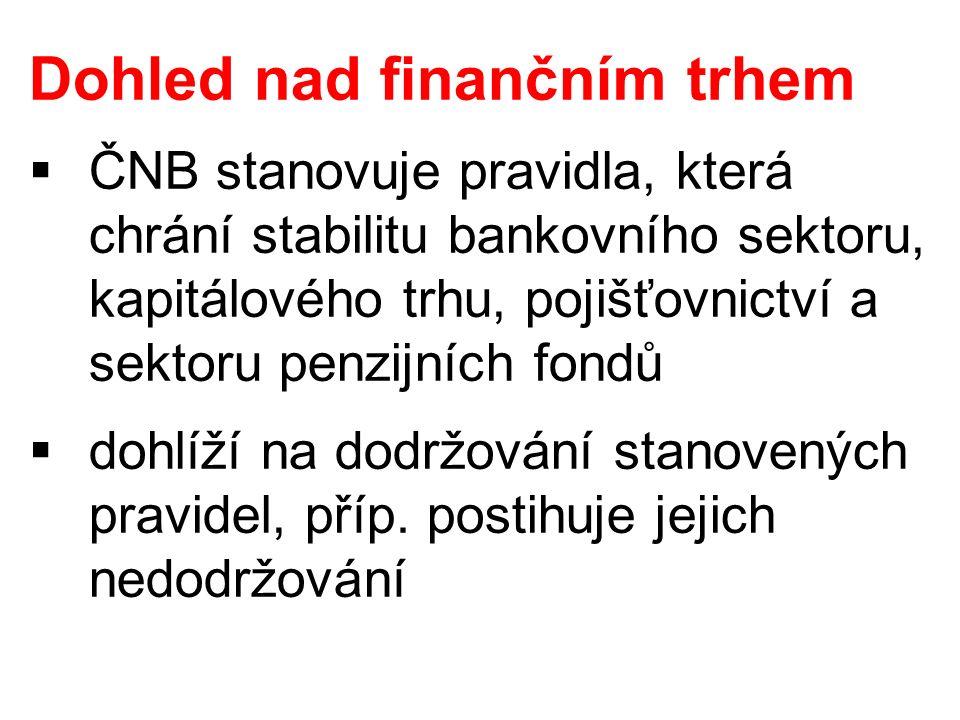 Dohled nad finančním trhem  ČNB stanovuje pravidla, která chrání stabilitu bankovního sektoru, kapitálového trhu, pojišťovnictví a sektoru penzijních