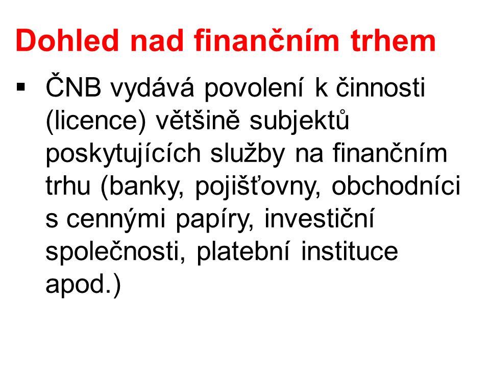 Dohled nad finančním trhem  ČNB vydává povolení k činnosti (licence) většině subjektů poskytujících služby na finančním trhu (banky, pojišťovny, obch