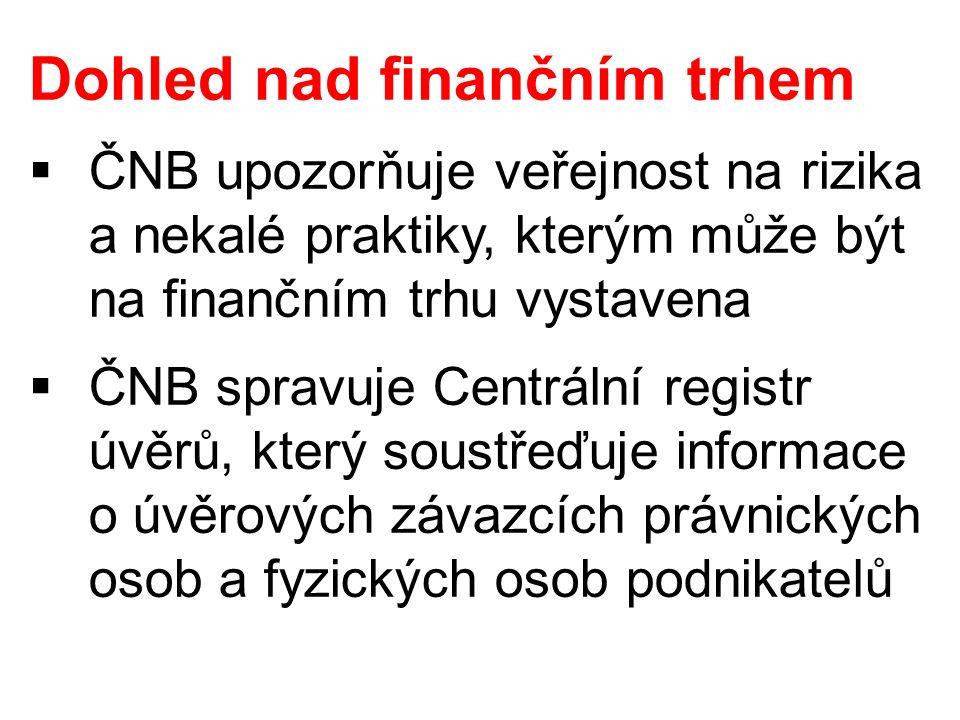Dohled nad finančním trhem  ČNB upozorňuje veřejnost na rizika a nekalé praktiky, kterým může být na finančním trhu vystavena  ČNB spravuje Centráln