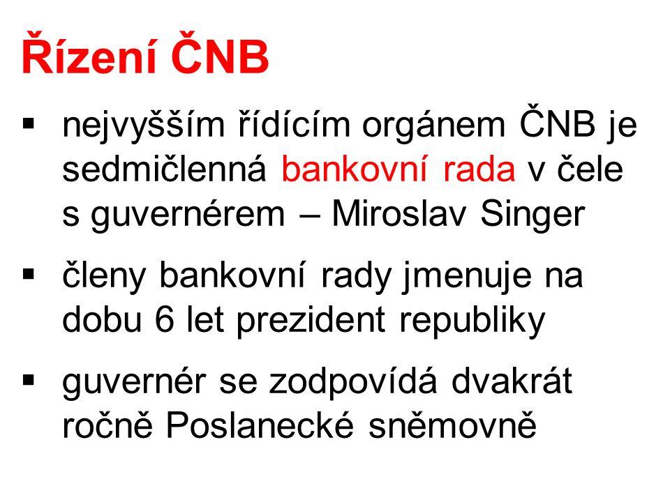 Řízení ČNB  nejvyšším řídícím orgánem ČNB je sedmičlenná bankovní rada v čele s guvernérem – Miroslav Singer  členy bankovní rady jmenuje na dobu 6