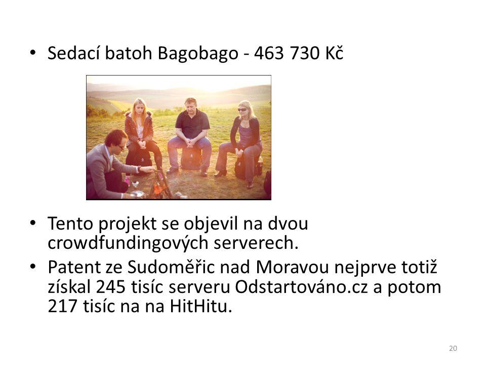 Sedací batoh Bagobago - 463 730 Kč Tento projekt se objevil na dvou crowdfundingových serverech. Patent ze Sudoměřic nad Moravou nejprve totiž získal