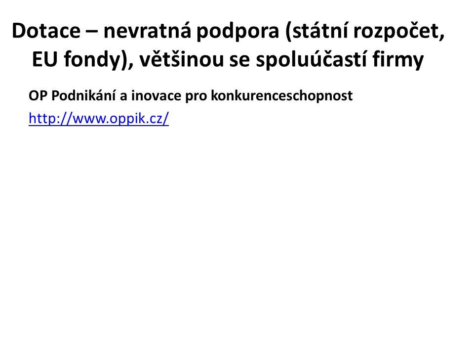 Dotace – nevratná podpora (státní rozpočet, EU fondy), většinou se spoluúčastí firmy OP Podnikání a inovace pro konkurenceschopnost http://www.oppik.c