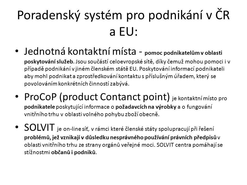Poradenský systém pro podnikání v ČR a EU: Jednotná kontaktní místa - pomoc podnikatelům v oblasti poskytování služeb.