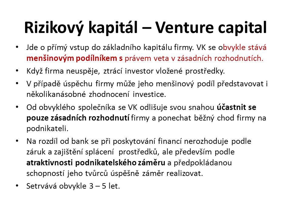 Rizikový kapitál – Venture capital Jde o přímý vstup do základního kapitálu firmy. VK se obvykle stává menšinovým podílníkem s právem veta v zásadních