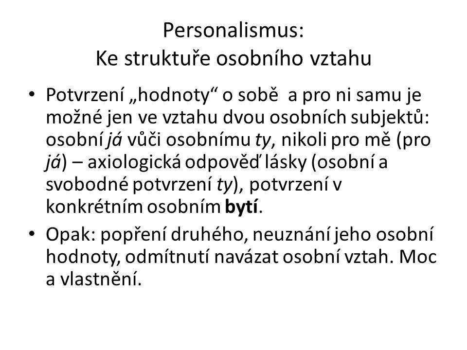 """Personalismus: Ke struktuře osobního vztahu Potvrzení """"hodnoty o sobě a pro ni samu je možné jen ve vztahu dvou osobních subjektů: osobní já vůči osobnímu ty, nikoli pro mě (pro já) – axiologická odpověď lásky (osobní a svobodné potvrzení ty), potvrzení v konkrétním osobním bytí."""