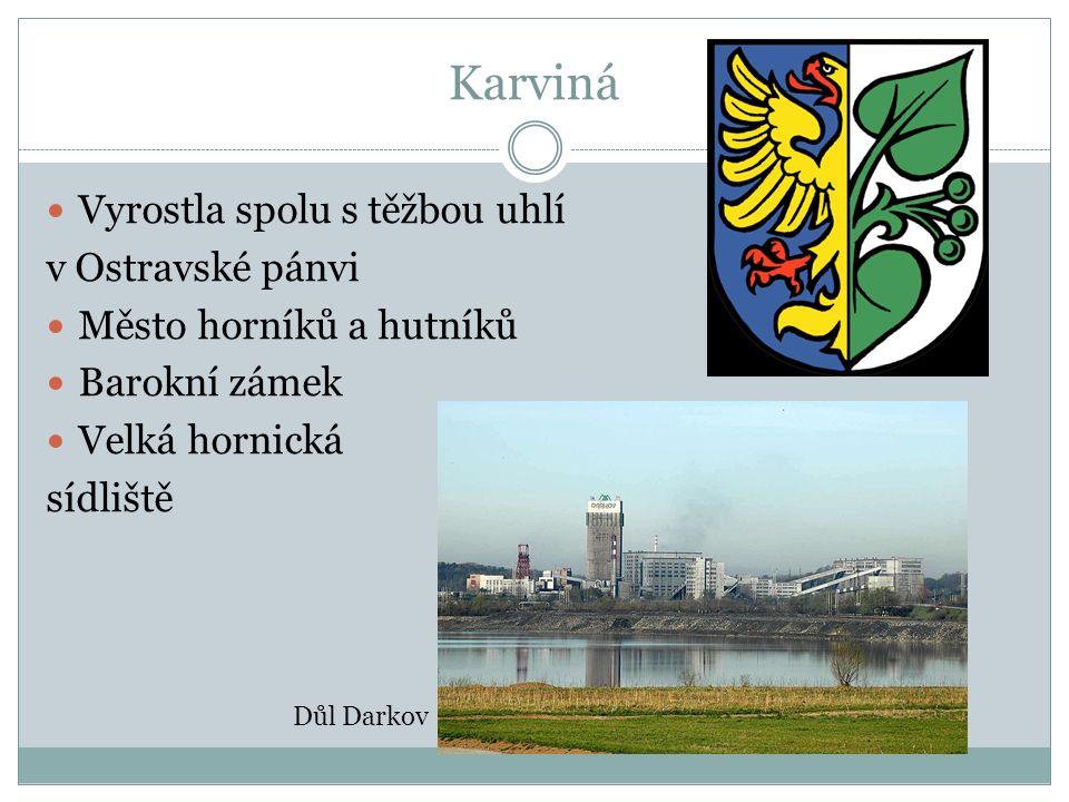 Karviná Vyrostla spolu s těžbou uhlí v Ostravské pánvi Město horníků a hutníků Barokní zámek Velká hornická sídliště Důl Darkov
