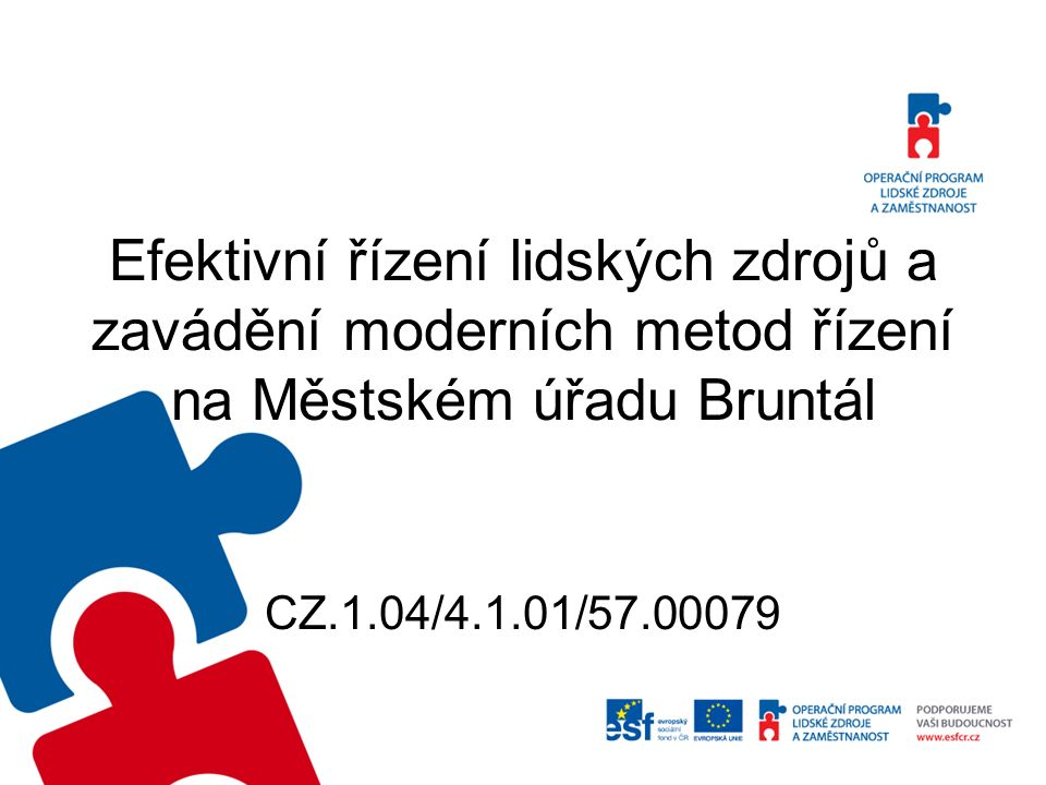 The efficient human resources management and the implementing of managing modern methods in Bruntál municipal office CZ.1.04/4.1.01/57.00079