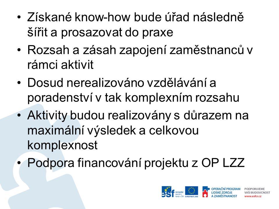 Získané know-how bude úřad následně šířit a prosazovat do praxe Rozsah a zásah zapojení zaměstnanců v rámci aktivit Dosud nerealizováno vzdělávání a poradenství v tak komplexním rozsahu Aktivity budou realizovány s důrazem na maximální výsledek a celkovou komplexnost Podpora financování projektu z OP LZZ