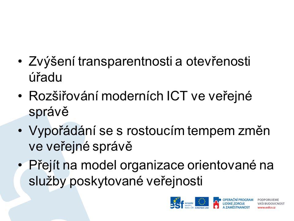 Zvýšení transparentnosti a otevřenosti úřadu Rozšiřování moderních ICT ve veřejné správě Vypořádání se s rostoucím tempem změn ve veřejné správě Přejít na model organizace orientované na služby poskytované veřejnosti