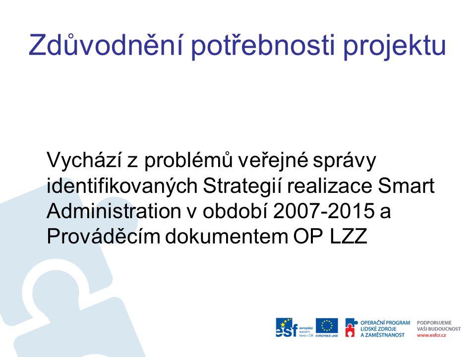 Zdůvodnění potřebnosti projektu Vychází z problémů veřejné správy identifikovaných Strategií realizace Smart Administration v období 2007-2015 a Prováděcím dokumentem OP LZZ