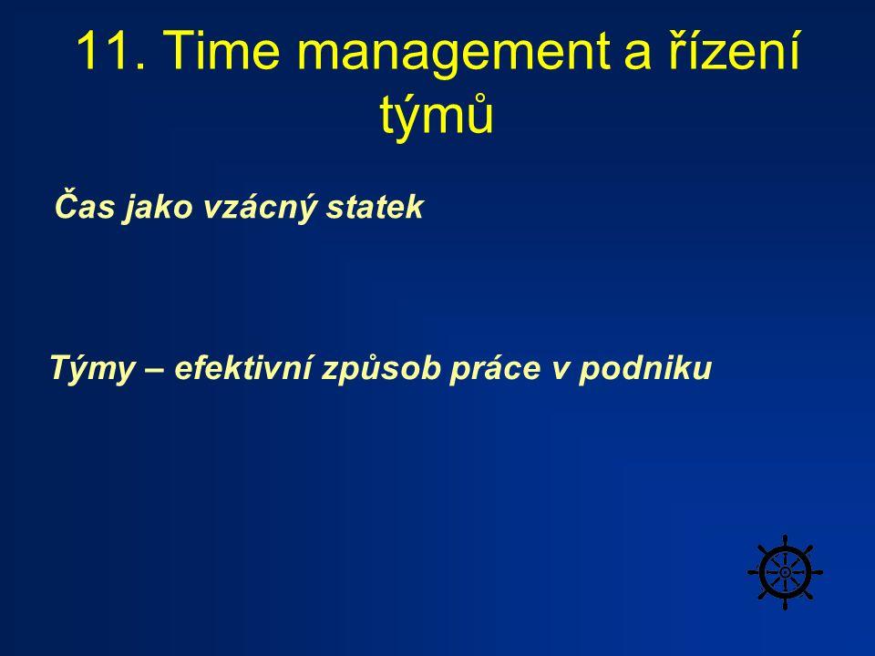 11. Time management a řízení týmů Čas jako vzácný statek Týmy – efektivní způsob práce v podniku