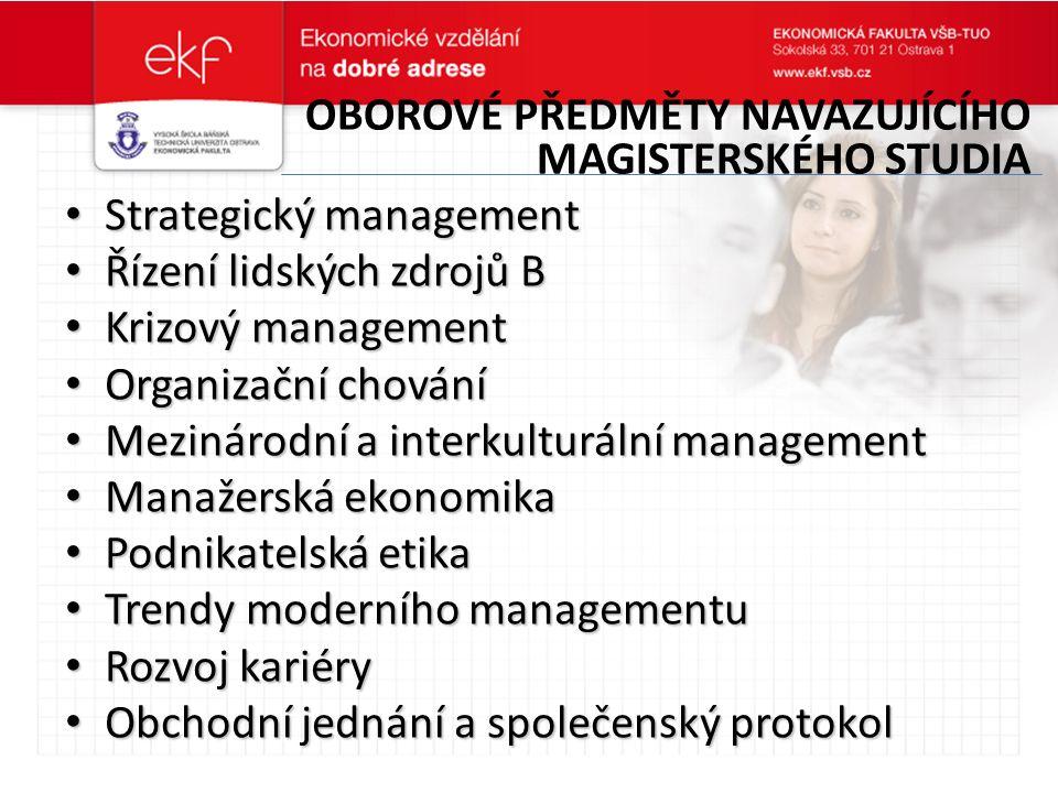 PŘEDMĚTY VYUČOVANÉ V ANGLIČTINĚ Management (Management) Management (Management) Managerial Skills (Manažerské dovednosti) Managerial Skills (Manažerské dovednosti) Small Business Management (Management malého podniku) Small Business Management (Management malého podniku) Trends in Modern Management (Trendy moderního managementu) Trends in Modern Management (Trendy moderního managementu) Human Resource Management (Řízení lidských zdrojů) Human Resource Management (Řízení lidských zdrojů) Organizational Behaviour (Organizační chování) Organizational Behaviour (Organizační chování) Strategic Management (Strategický management) Strategic Management (Strategický management)
