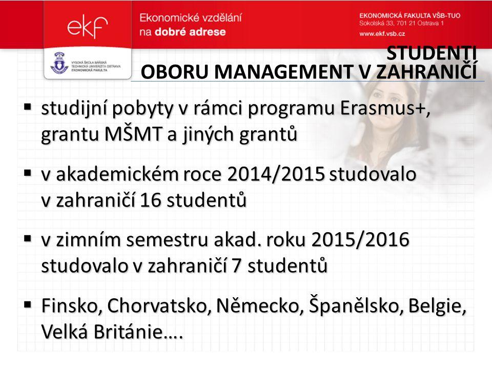  studijní pobyty v rámci programu Erasmus+, grantu MŠMT a jiných grantů  v akademickém roce 2014/2015 studovalo v zahraničí 16 studentů  v zimním semestru akad.