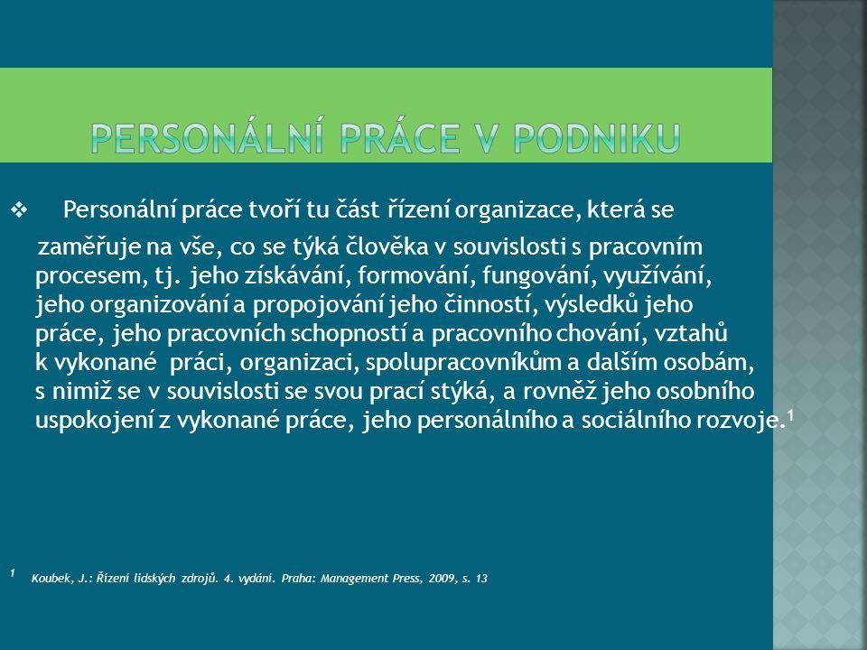  Personální práce tvoří tu část řízení organizace, která se zaměřuje na vše, co se týká člověka v souvislosti s pracovním procesem, tj.
