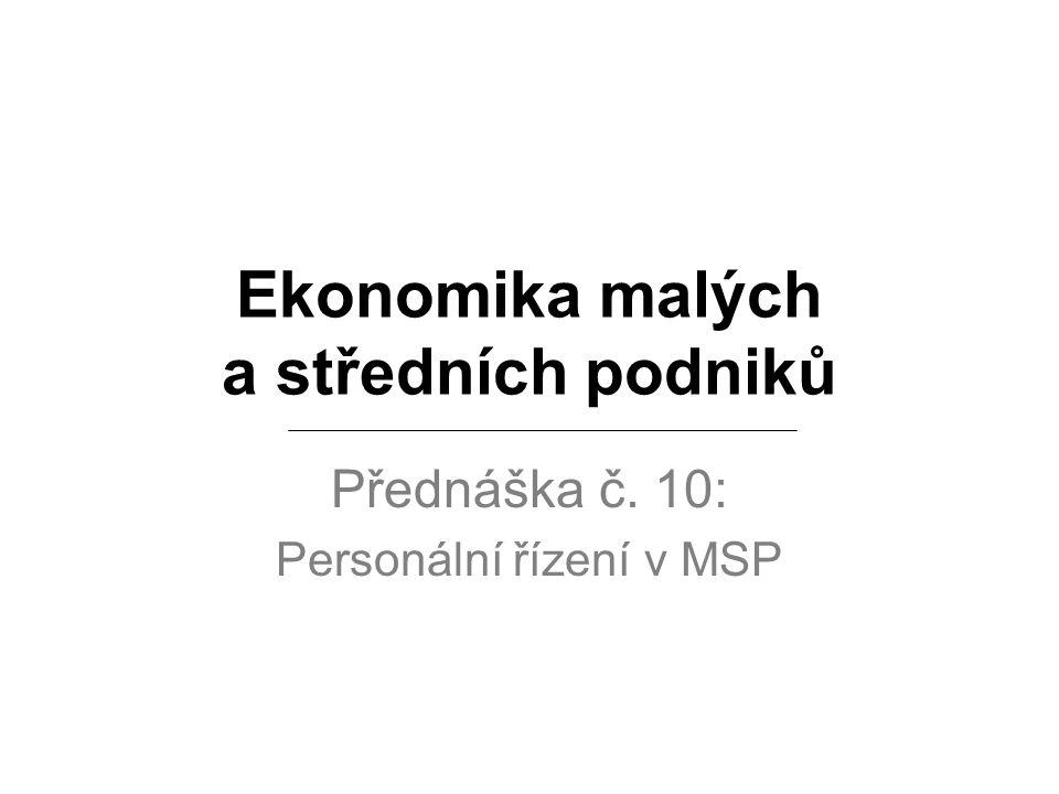 Ekonomika malých a středních podniků Přednáška č. 10: Personální řízení v MSP