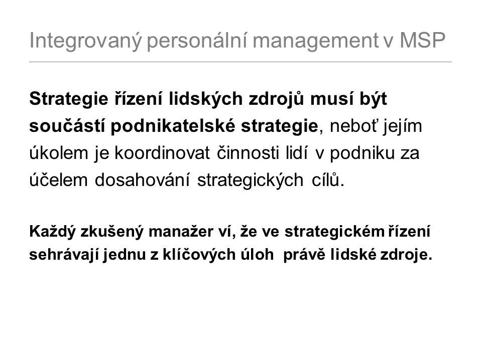 Integrovaný personální management v MSP _______________________________________________________________________________________________ Strategie řízení lidských zdrojů musí být součástí podnikatelské strategie, neboť jejím úkolem je koordinovat činnosti lidí v podniku za účelem dosahování strategických cílů.