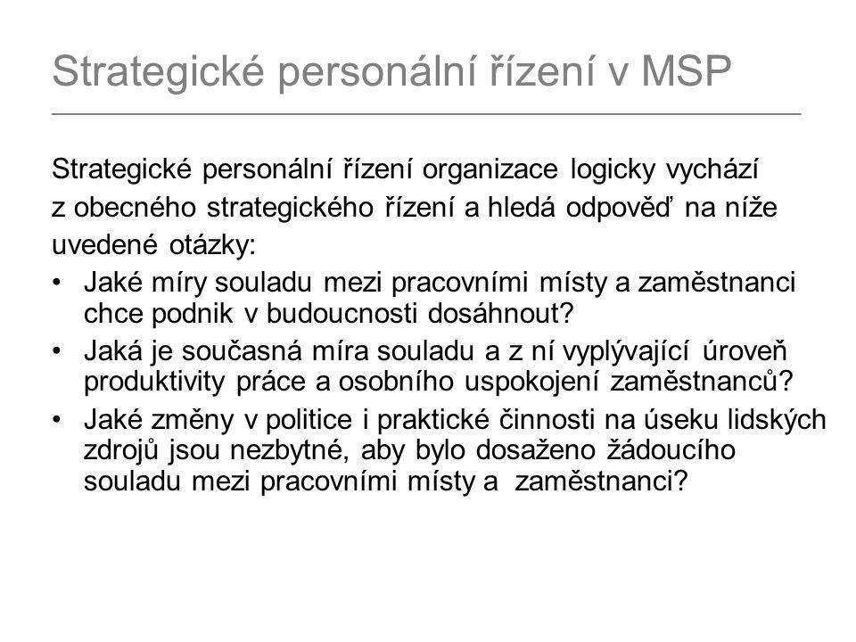 Strategické personální řízení v MSP _________________________________________________________________________________ Strategické personální řízení organizace logicky vychází z obecného strategického řízení a hledá odpověď na níže uvedené otázky: Jaké míry souladu mezi pracovními místy a zaměstnanci chce podnik v budoucnosti dosáhnout.