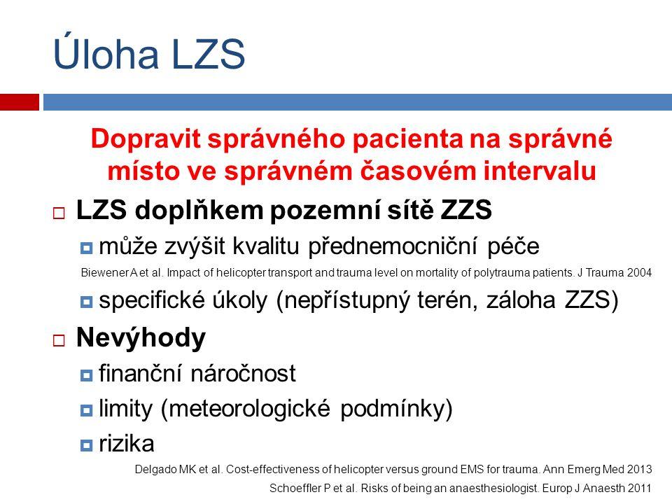 Úloha LZS Dopravit správného pacienta na správné místo ve správném časovém intervalu  LZS doplňkem pozemní sítě ZZS  může zvýšit kvalitu přednemocniční péče Biewener A et al.