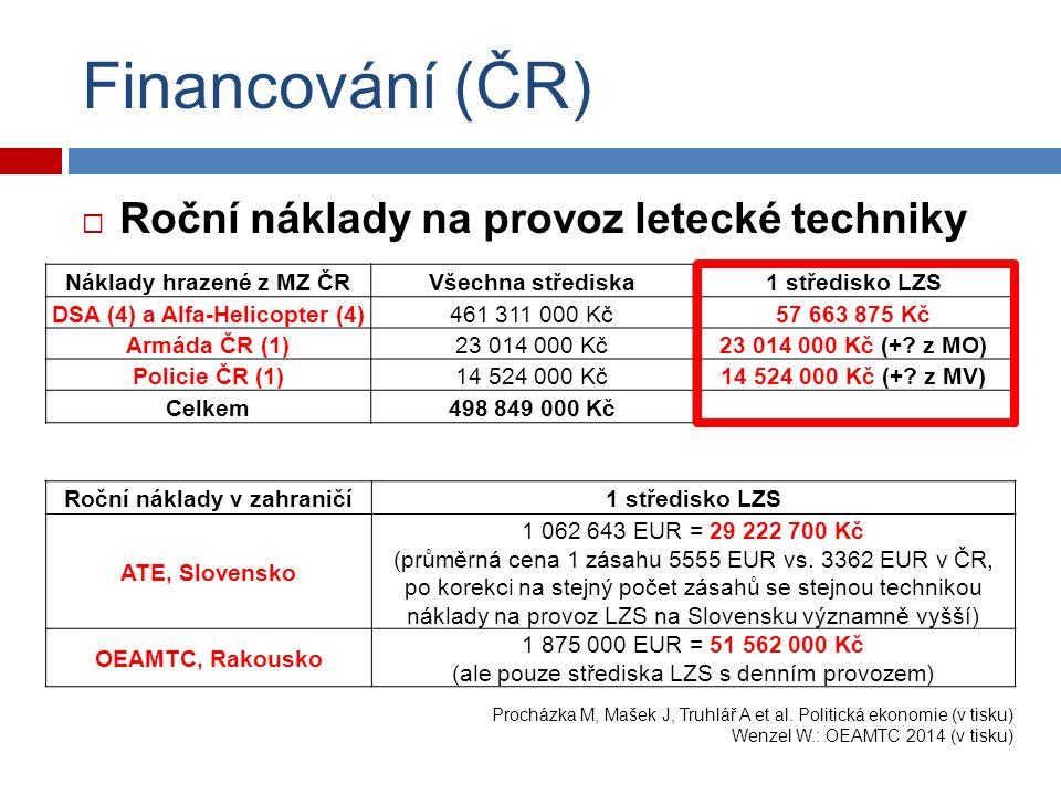 Financování (ČR)  Roční náklady na provoz letecké techniky Náklady hrazené z MZ ČRVšechna střediska1 středisko LZS DSA (4) a Alfa-Helicopter (4)461 311 000 Kč57 663 875 Kč Armáda ČR (1)23 014 000 Kč23 014 000 Kč (+.