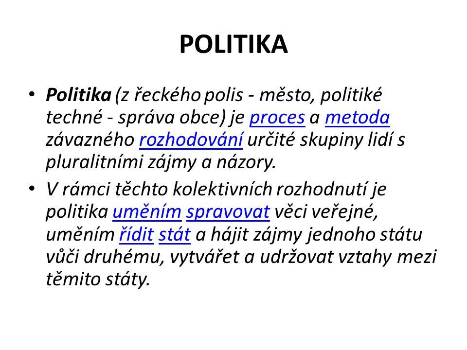POLITIKA Politika (z řeckého polis - město, politiké techné - správa obce) je proces a metoda závazného rozhodování určité skupiny lidí s pluralitními zájmy a názory.procesmetodarozhodování V rámci těchto kolektivních rozhodnutí je politika uměním spravovat věci veřejné, uměním řídit stát a hájit zájmy jednoho státu vůči druhému, vytvářet a udržovat vztahy mezi těmito státy.uměnímspravovatříditstát