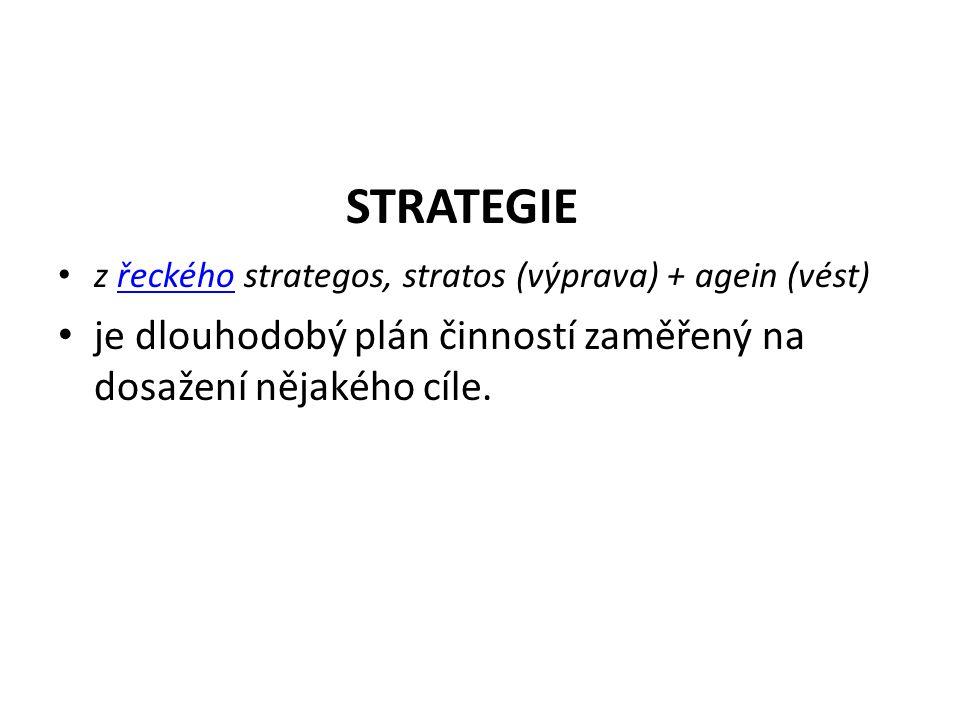 STRATEGIE z řeckého strategos, stratos (výprava) + agein (vést)řeckého je dlouhodobý plán činností zaměřený na dosažení nějakého cíle.