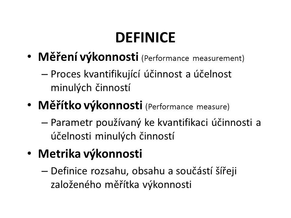 DEFINICE Měření výkonnosti (Performance measurement) – Proces kvantifikující účinnost a účelnost minulých činností Měřítko výkonnosti (Performance measure) – Parametr používaný ke kvantifikaci účinnosti a účelnosti minulých činností Metrika výkonnosti – Definice rozsahu, obsahu a součástí šířeji založeného měřítka výkonnosti
