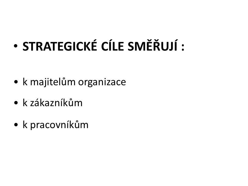 STRATEGICKÉ CÍLE SMĚŘUJÍ : k majitelům organizace k zákazníkům k pracovníkům