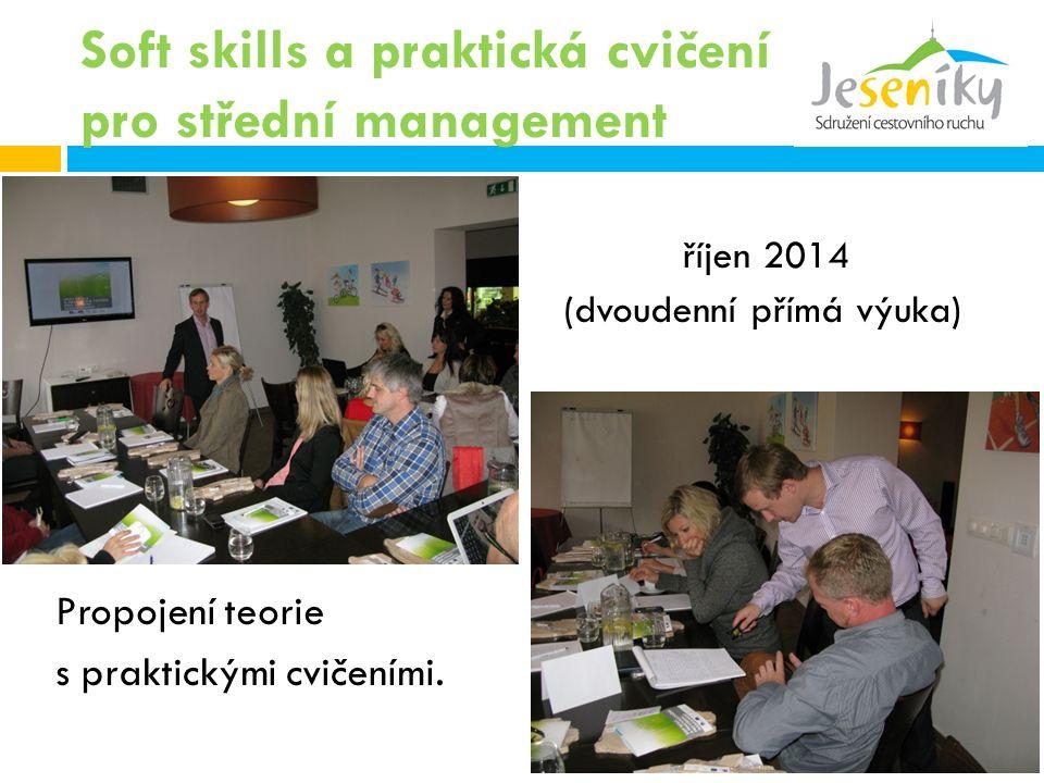 Soft skills a praktická cvičení pro střední management říjen 2014 (dvoudenní přímá výuka) Propojení teorie s praktickými cvičeními.