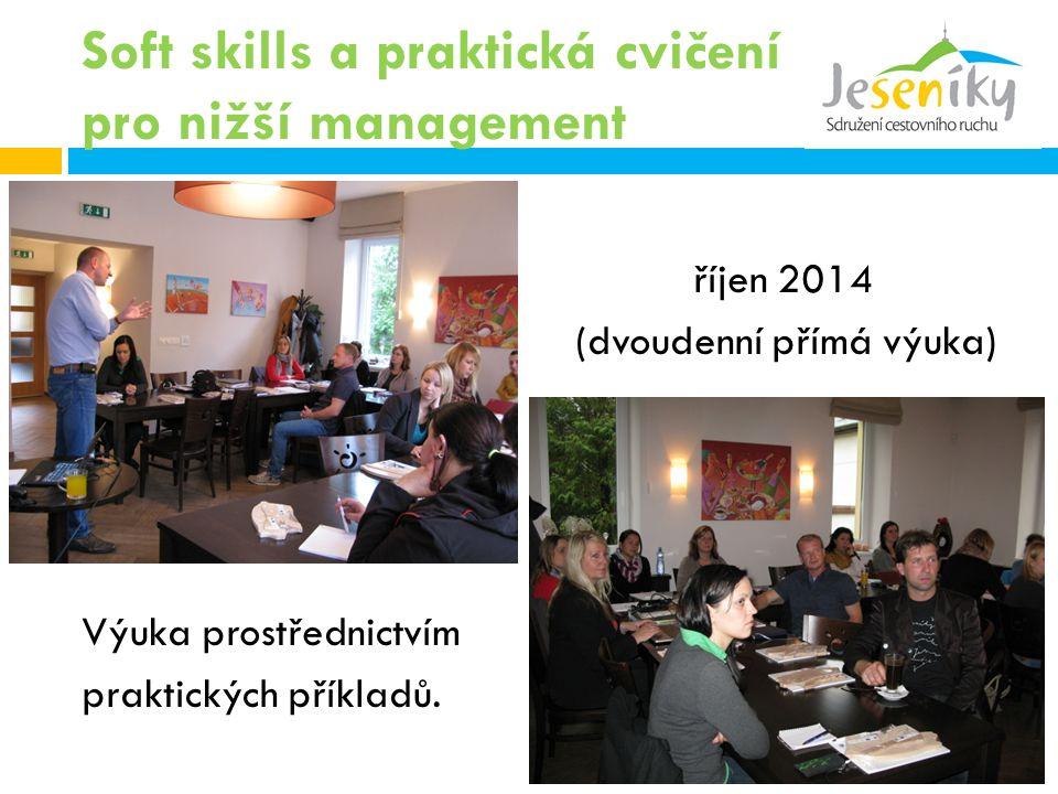 Soft skills a praktická cvičení pro nižší management říjen 2014 (dvoudenní přímá výuka) Výuka prostřednictvím praktických příkladů.