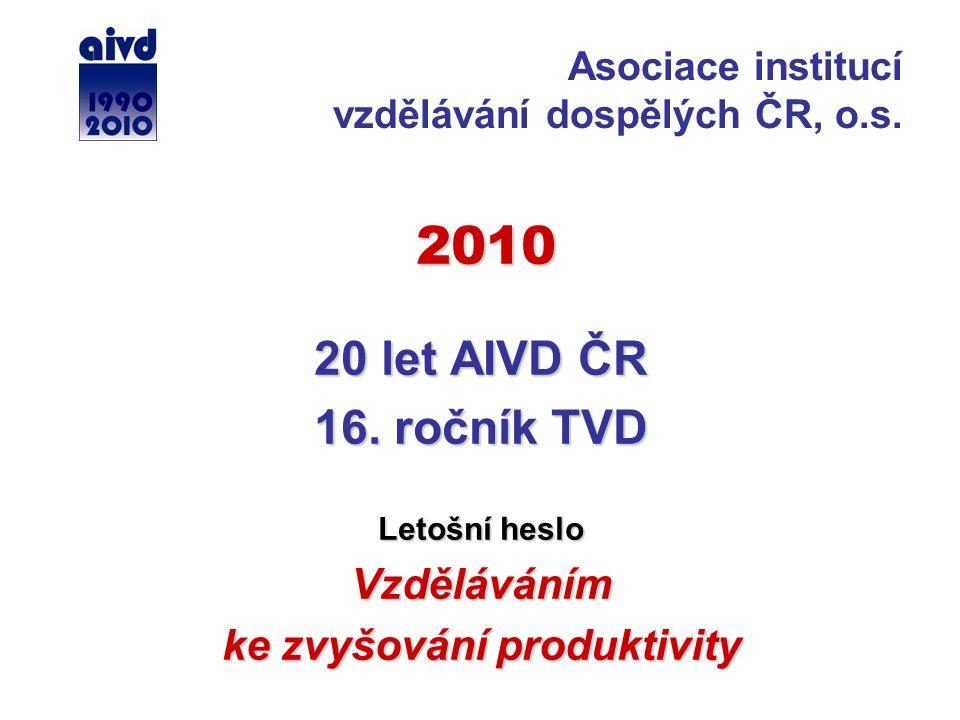 2010 2010 20 let AIVD ČR 16. ročník TVD Letošní heslo Vzděláváním ke zvyšování produktivity Asociace institucí vzdělávání dospělých ČR, o.s.